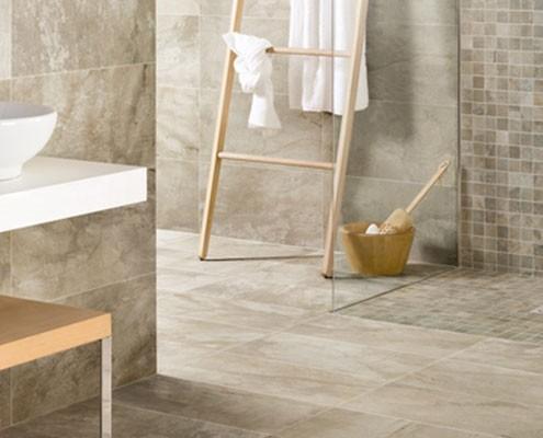 A tiled bathroom