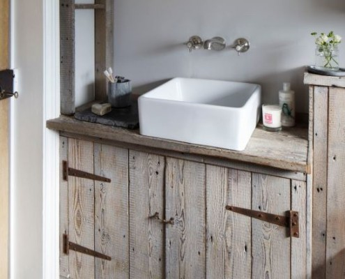 bathroom vanity reclaimed wood look