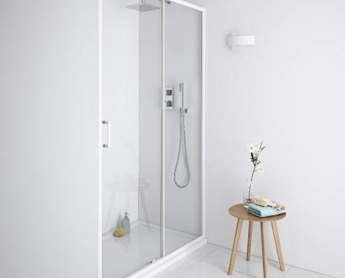 sliding shower door with white frame