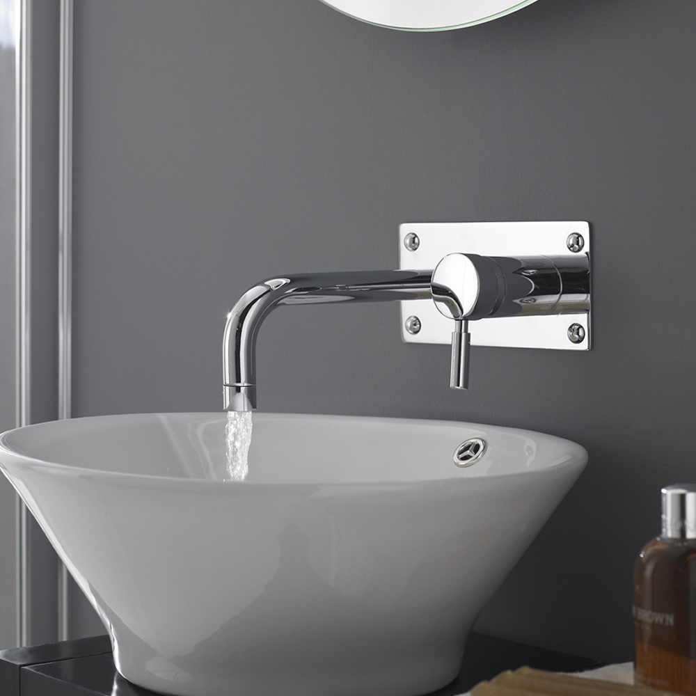 wall mounted basin tap and countertop basin