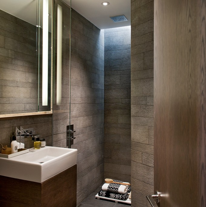 Contemporary shower room with recessed wet-room area