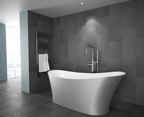 silver modern freestanding bath