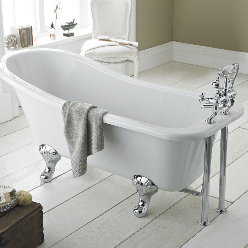 traditional freestanding slipper bath with chrome feet