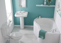 modern bathroom suite with vintage styling