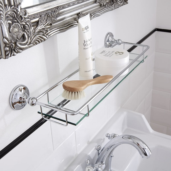 bathroom shelf with accessories