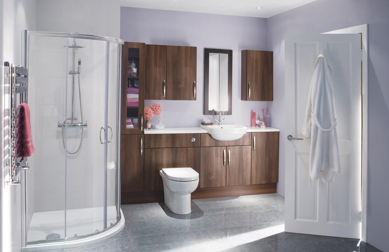 Modern Bathroom With Walnut Furniture And Quadrant Shower Enclosure