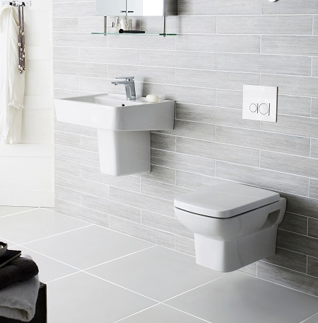 Wall Mounted Basin And Toilet. Grey Bathroom Paint