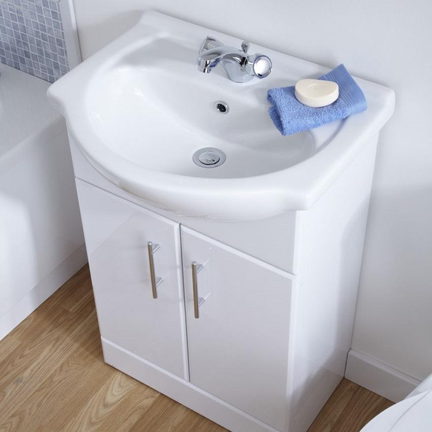 white gloss vanity unit