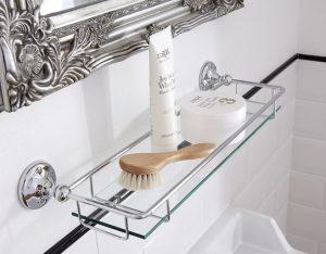 traditional glass bathroom shelf