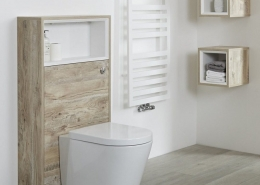light oak WC unit with back to wall toilet