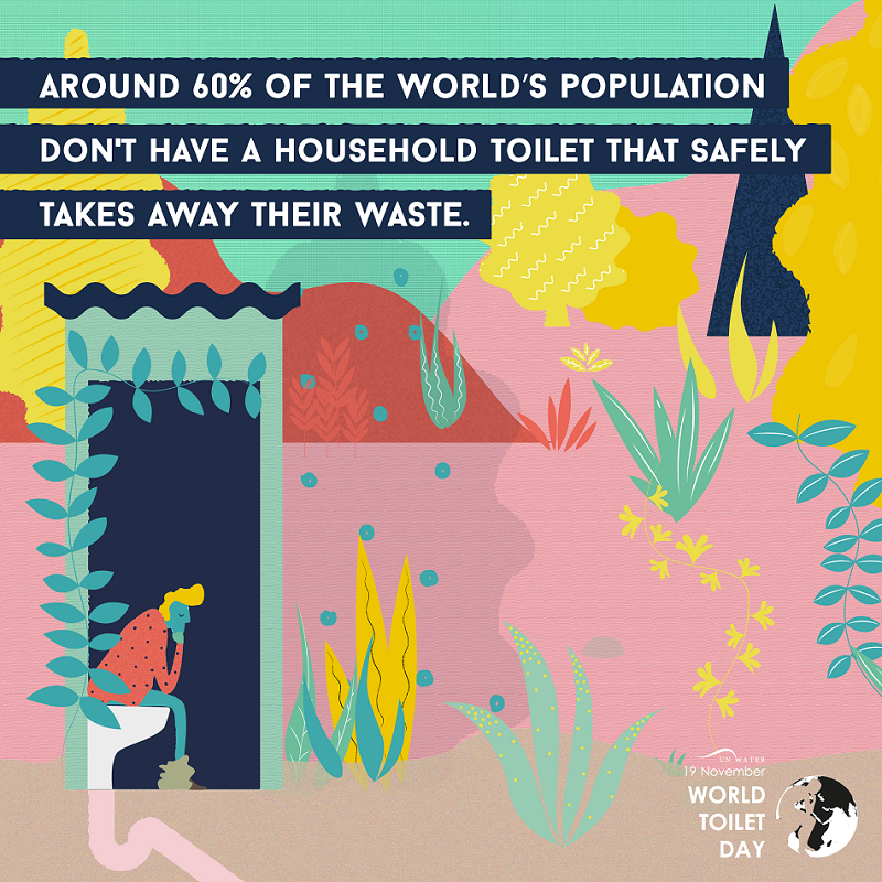 Around 60% of the world's population don't have a household toilet that safely takes away waste - 19th November, World Toilet Day