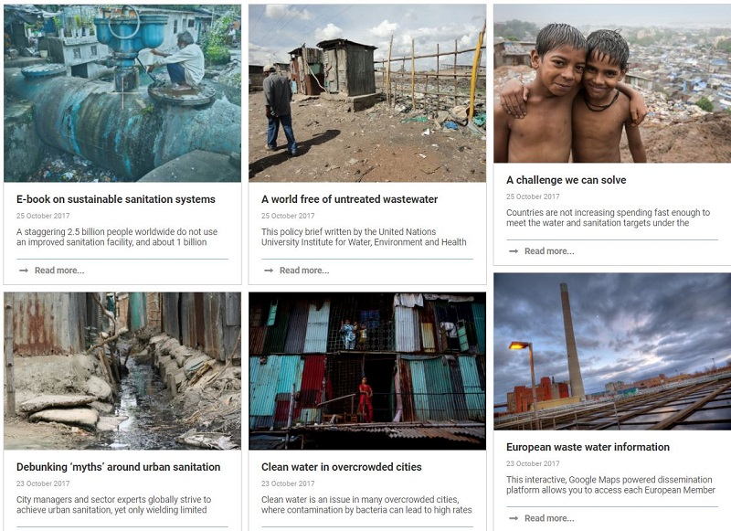 Screenshot of 6 environmental blogs about wastewater and sanitisation