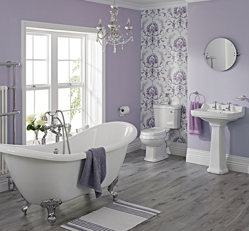 Purple-violet traditional bathroom suite