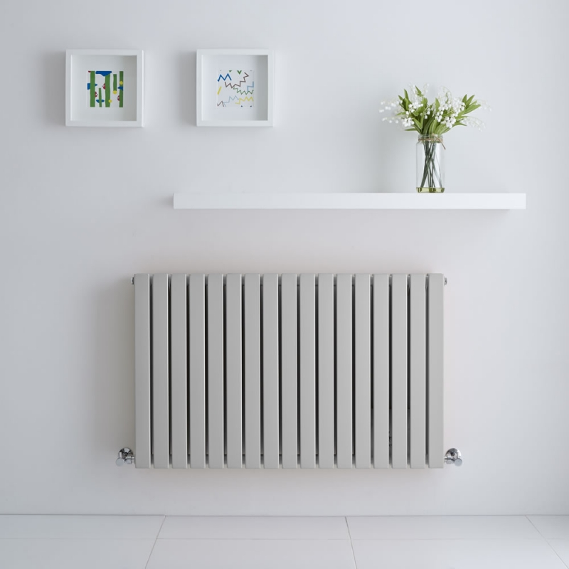 pale grey flat panel designer radiator