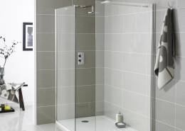 walk in shower with white shower tray