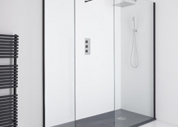 Black framed walk in shower with black slate shower tray