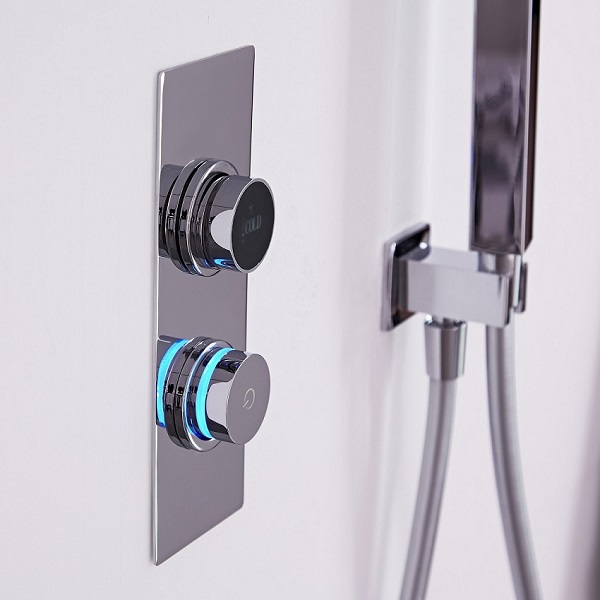 Dual digital shower control with digital display and illuminated control