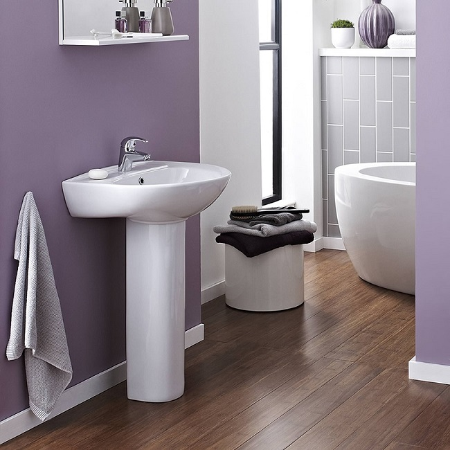 modern bathroom with purple walls