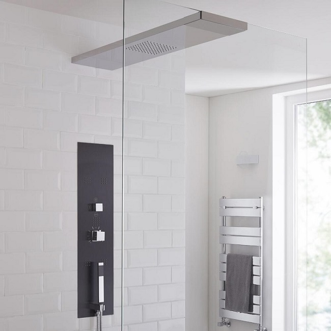 shower tower with wet room screen shower head
