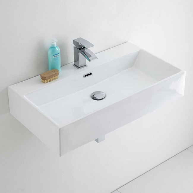 wall-hung-basin with monobloc tap