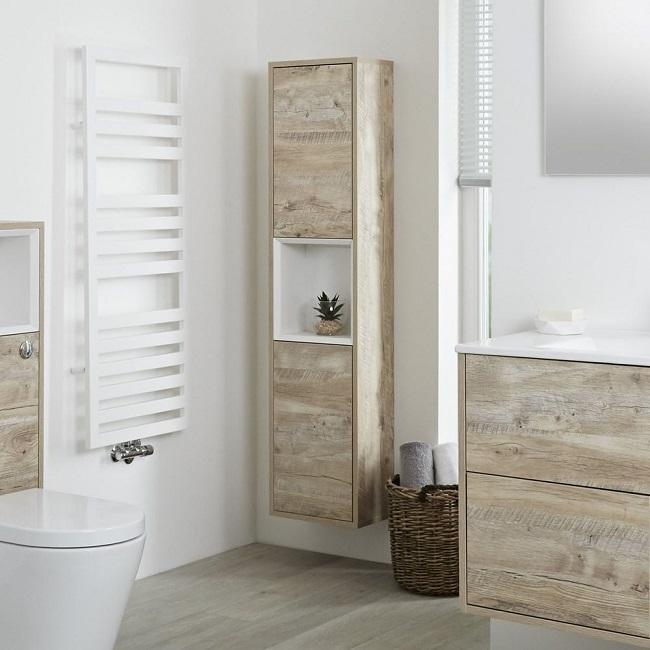 light oak tall wall mounted storage unit