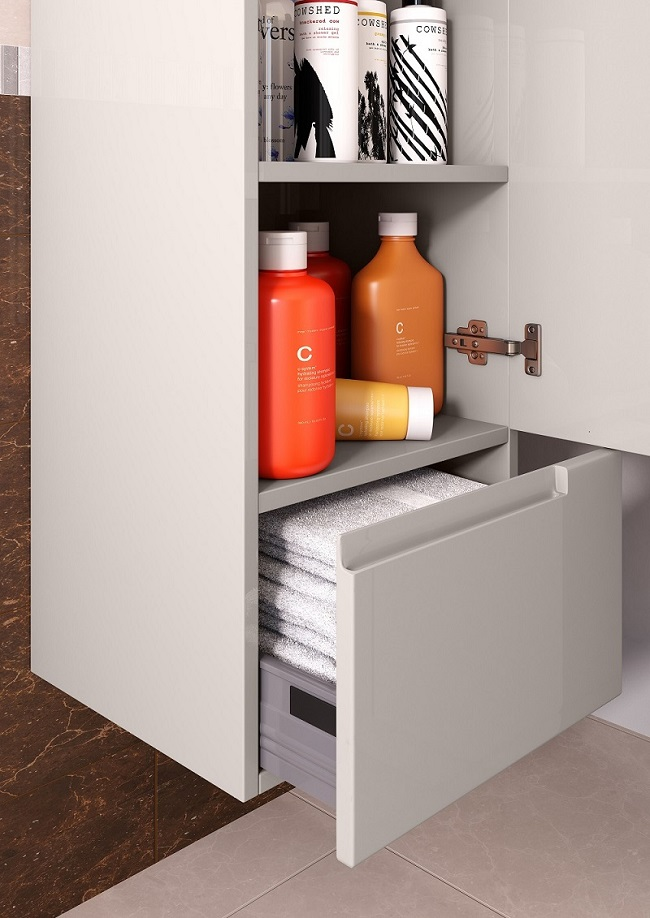 wall hung bathroom cabinet with shelf and drawer