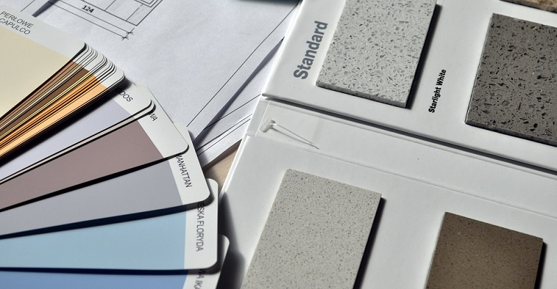 Paint colour and tile samples
