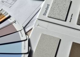 Paint colour swatches and tile samples