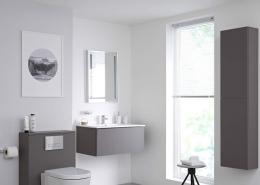 modern bathroom with grey furniture