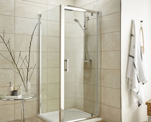 pivot shower door enclosure