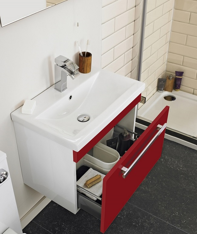 Red and white vanity unit