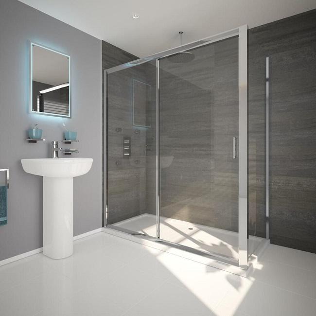 Thick chrome framed large rectangular shower with white shower tray