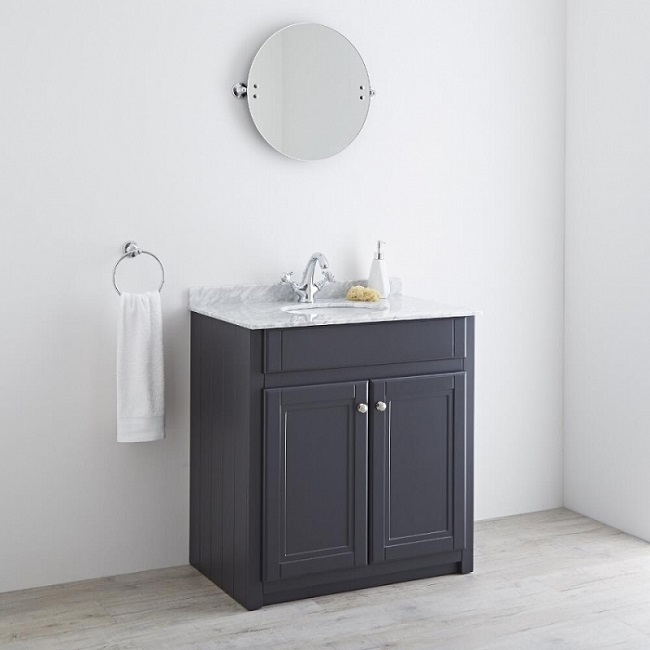 Traditional vanity unit with marble top and anthracite body