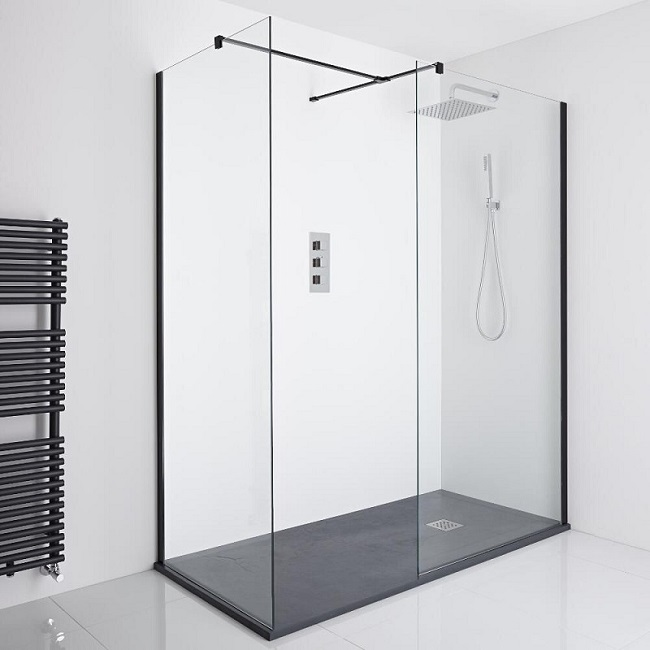 Walk in shower with black shower tray and frame.