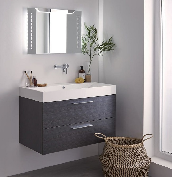 Illuminated Bathroom Mirror With Vanity Unit