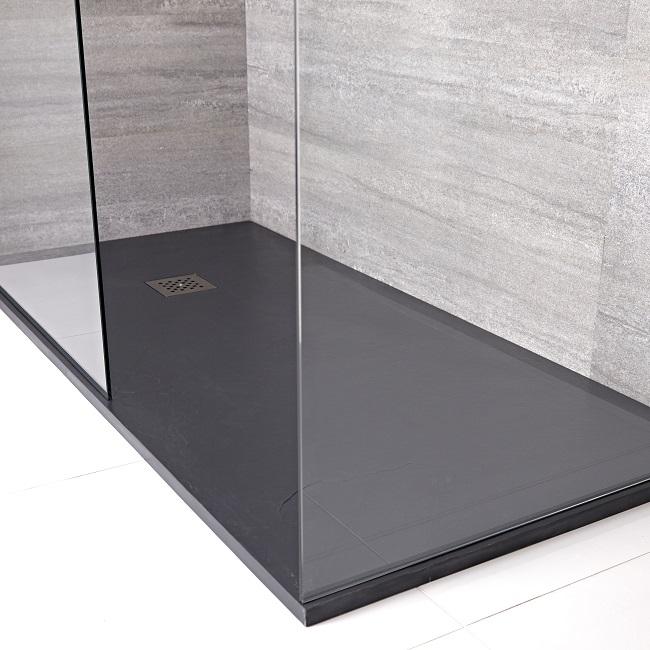 Slate effect rectangular shower tray