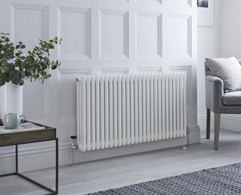 white column radiator in traditional room