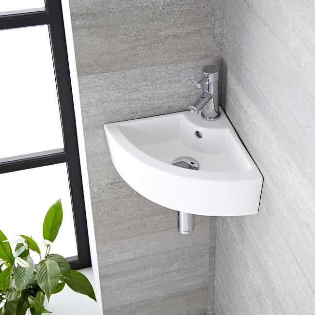 wall hung corner basin