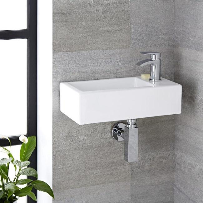 wall hung rectangular cloakroom basin