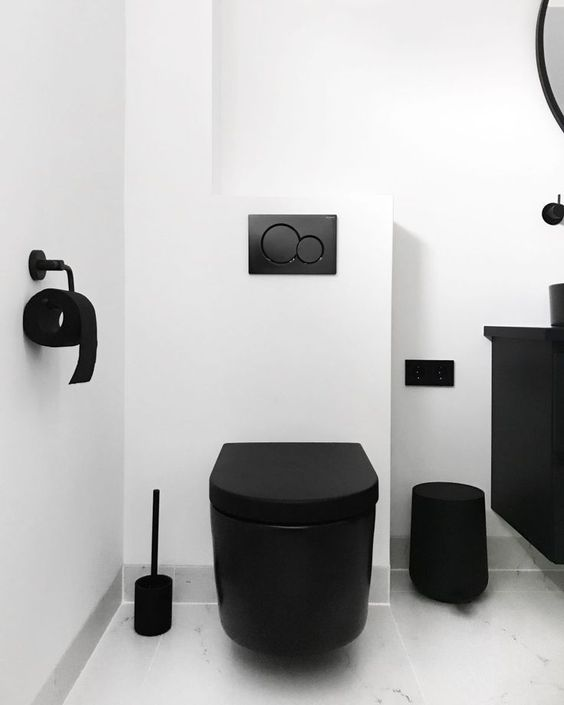 All black bathroom