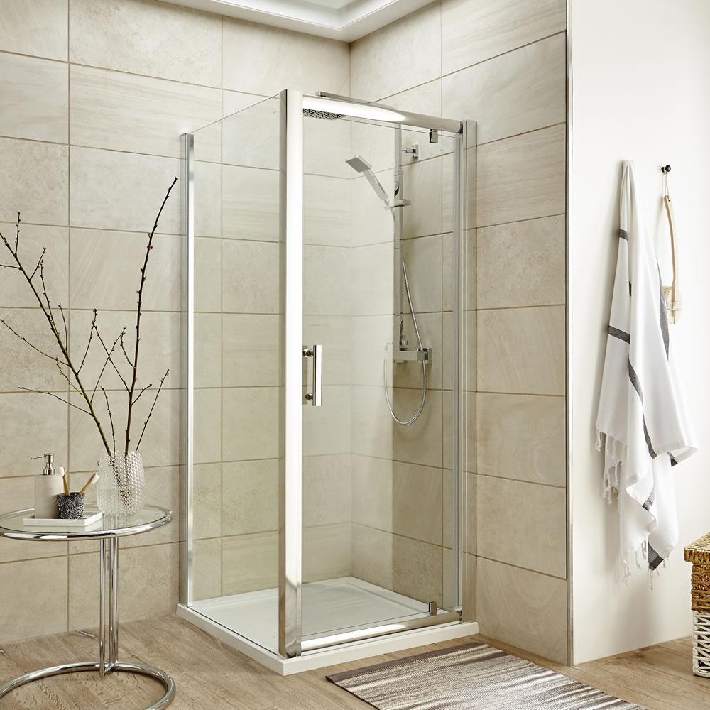 Premier 760mm Pivot Door Shower Enclosure , Tray & Waste
