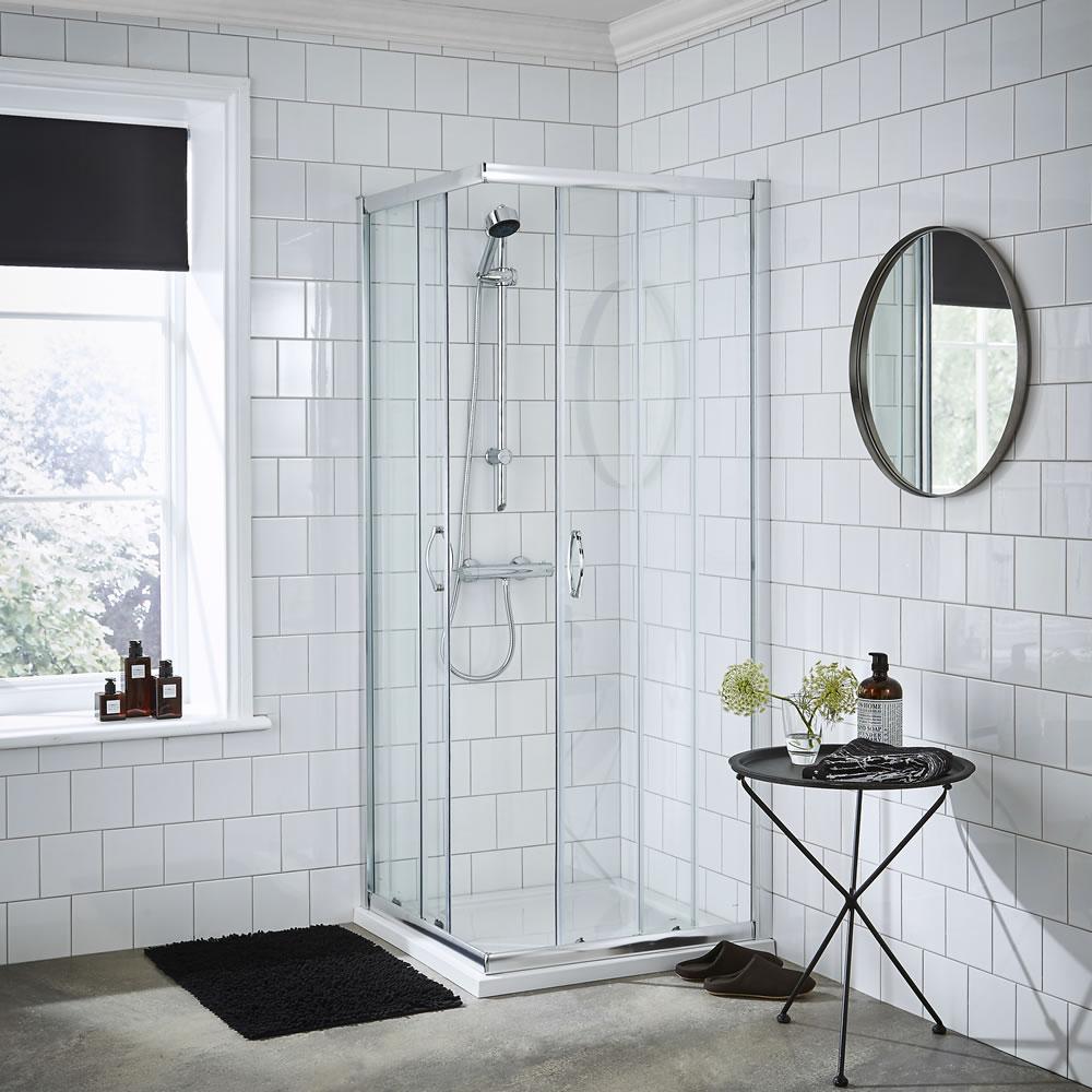 Premier 760mm Ella Corner Entry Shower Enclosure With Tray & Waste