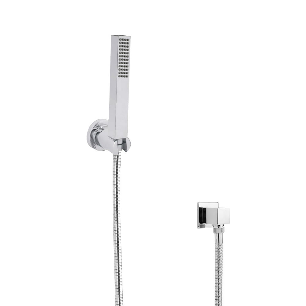 Milano Square Shower Handset Kit with Wall Bracket & Outlet Elbow