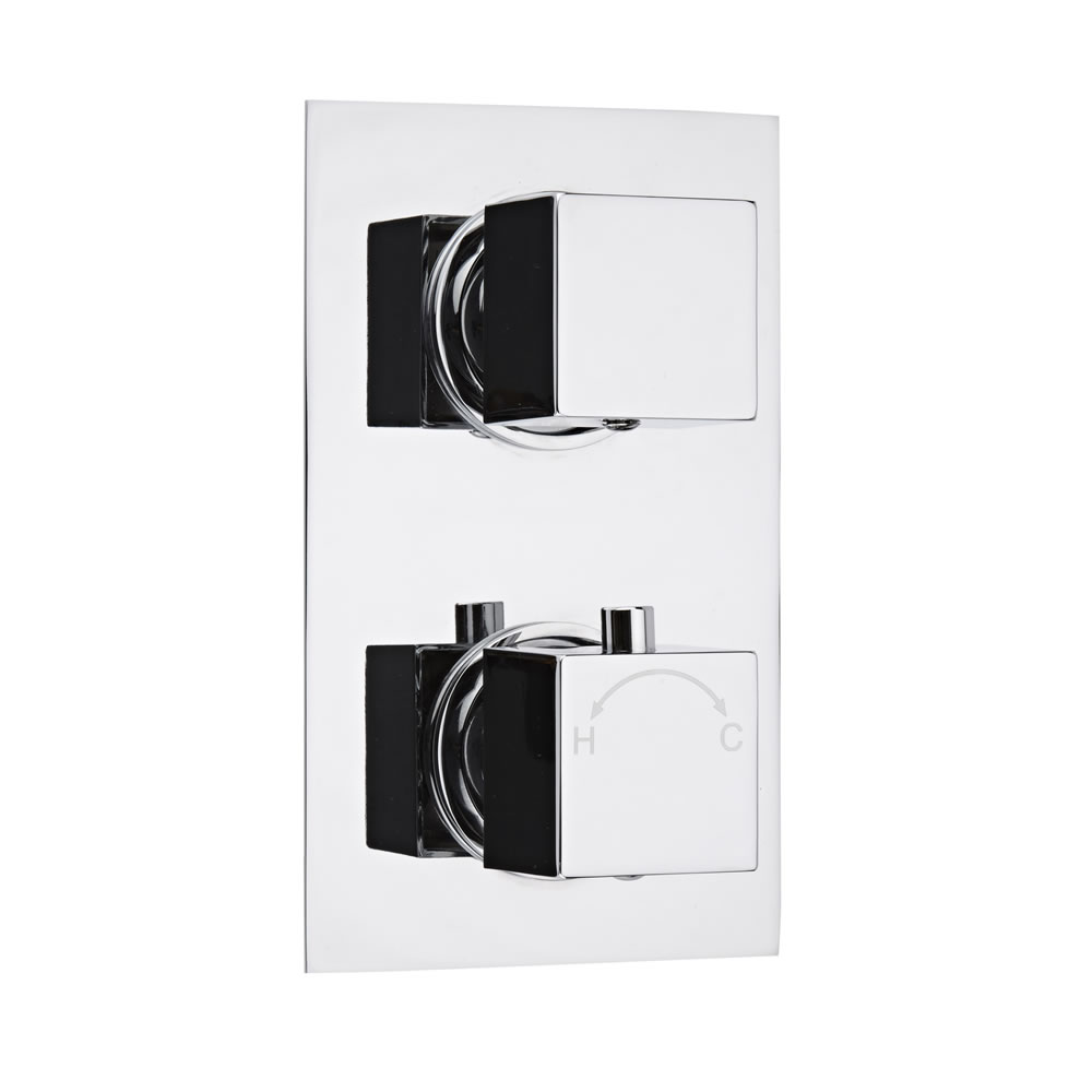Milano Concealed Thermostatic Twin Valve with Diverter, Rectangular Plate and Square Handles
