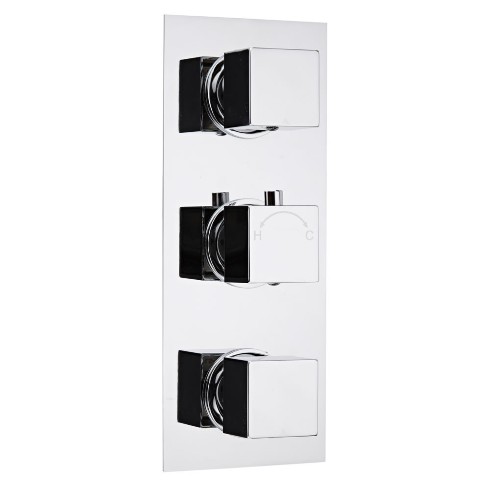 Milano Concealed Thermostatic Triple Valve, Two Outlets, Rectangular Plate and Square Handles
