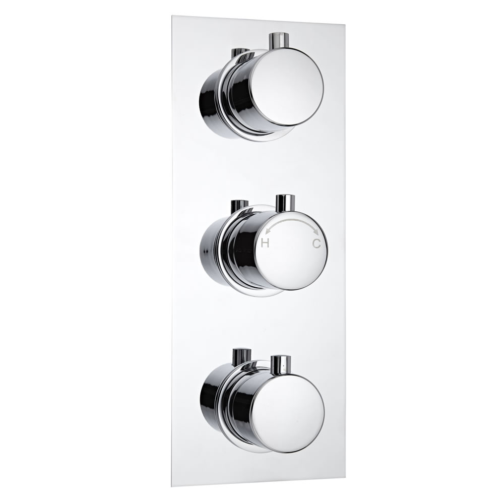 Milano Concealed Thermostatic Triple Valve, Two Outlets, Rectangular Plate and Round Handles