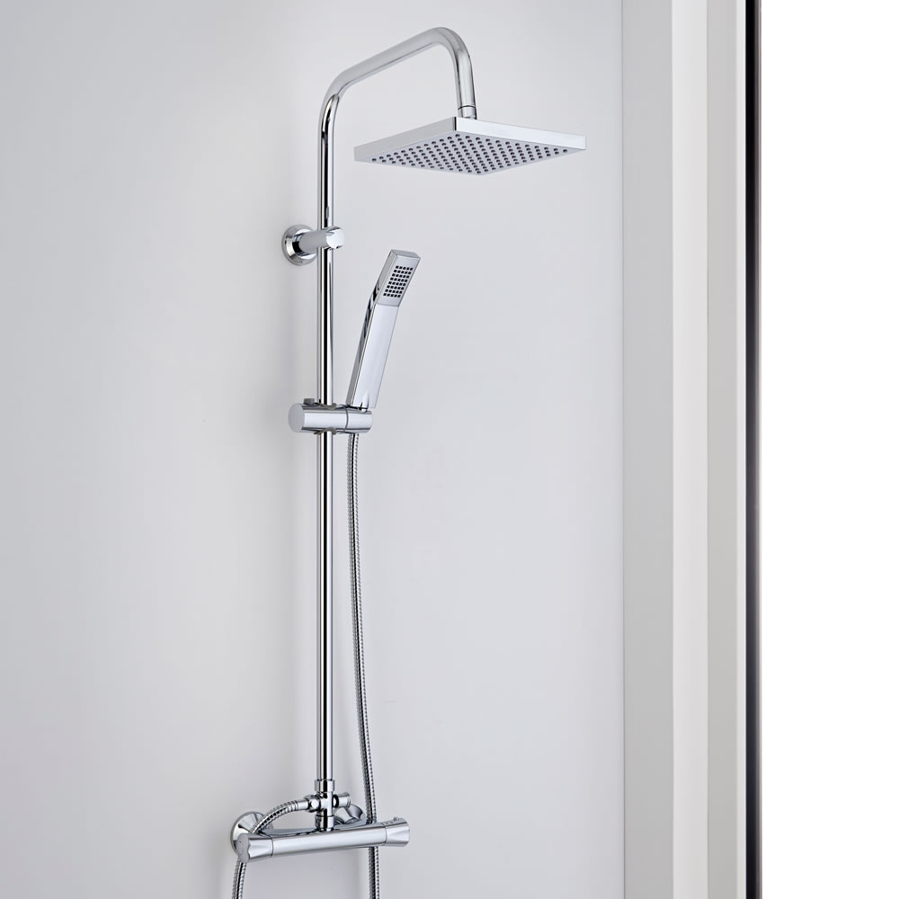Milano Thermostatic Bar Shower Mixer Shower Set with Square Head