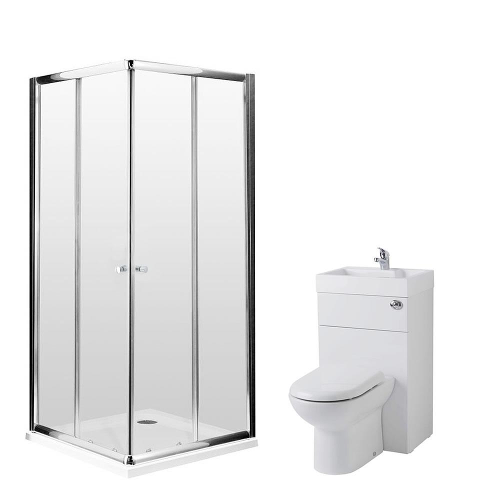 Milano 800mm Corner Entry En Suite Set With Combination Toilet & Basin Unit & Tap & Waste