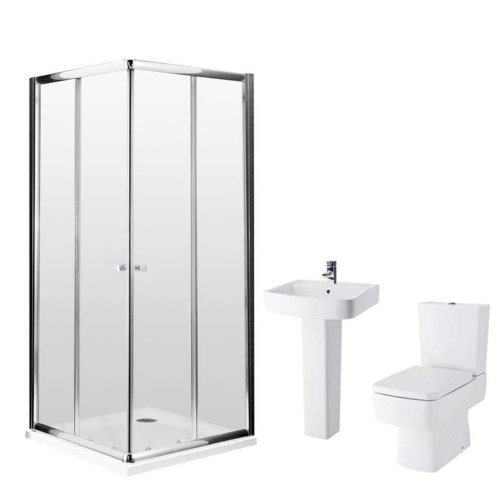 Milano 800mm Bliss Corner Entry En Suite Bathroom Set With Tap & Waste