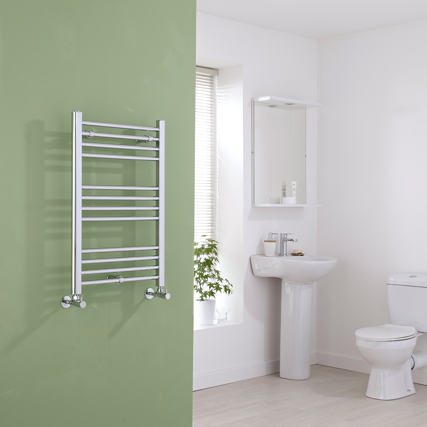 Milano Eco - Flat Chrome Heated Towel Rail 800mm x 500mm